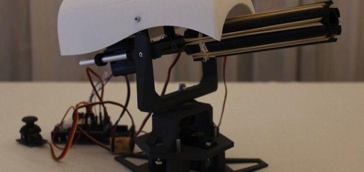 torreta arduino 720x340 - Construye una torreta móvil lanzadora de proyectiles con Arduino