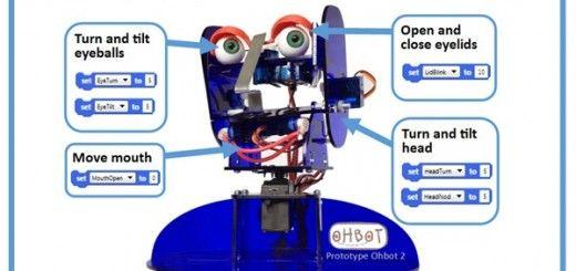 ohbot 520x245 - Ohbot2, una cabeza de robot programable compatible con Arduino
