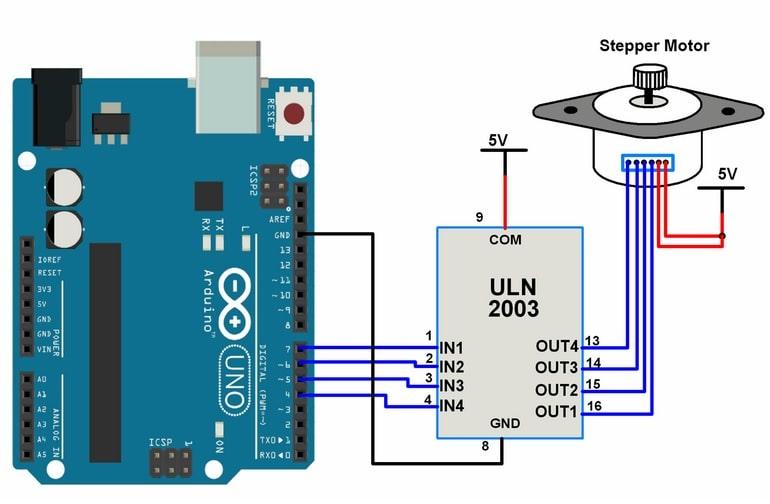 interfaz de diagrama motor paso a paso con Arduino uno - Motor paso a paso interfaz con Arduino