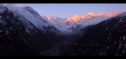 glaciardrone 520x245 - Increíbles  imágenes a vista de dron del glaciar Morteratsch en Suiza
