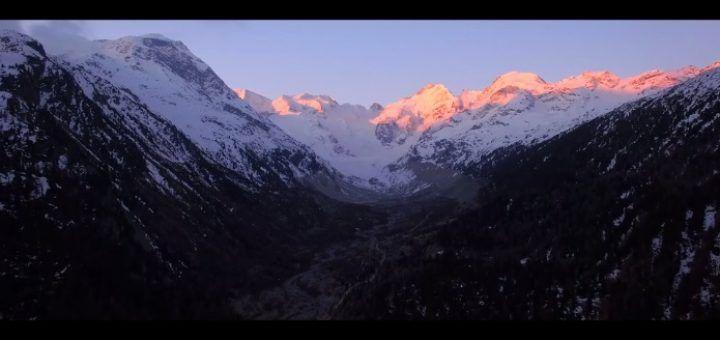 glaciardrone 720x340 - Increíbles  imágenes a vista de dron del glaciar Morteratsch en Suiza