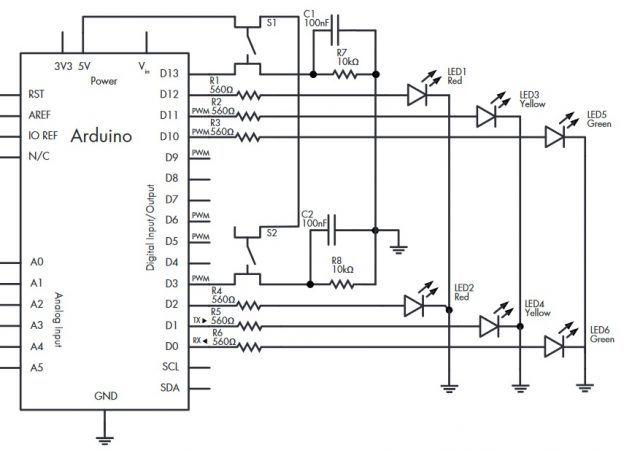 semaforo arduino 624x450 - Construye un sencillo sistema para controlar el tráfico
