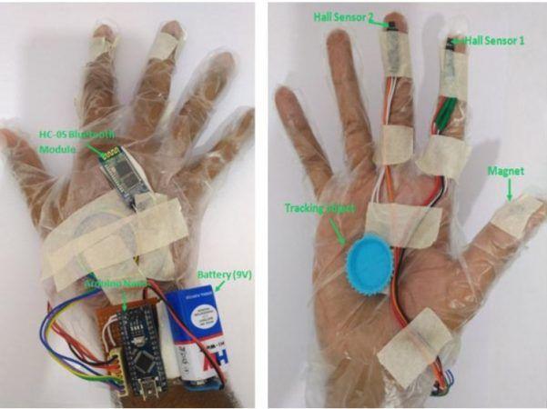 guante gestos 601x450 - Construye un sistema de control por gestos para Realidad Virtual con Arduino