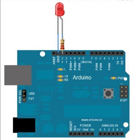 led arduino 430x450 - Tutorial de Arduino, lección 1, encender un LED