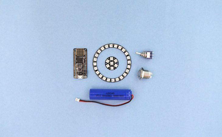 componentes bici 730x450 - Construye un faro para tu bicicleta que cambie de colores mediante un botón