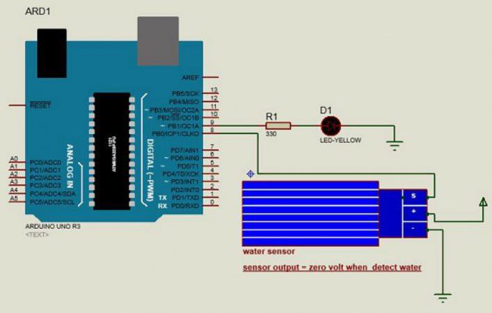 sensor de agua Arduino esquema 707x450 - Sensor Arduino, Detector de Agua