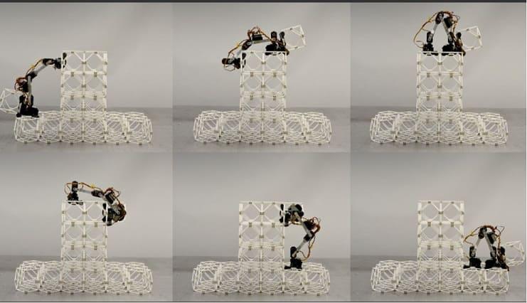 robots trabajando juntos - Pequeños robots ensambladores trabajan juntos para construir grandes estructuras