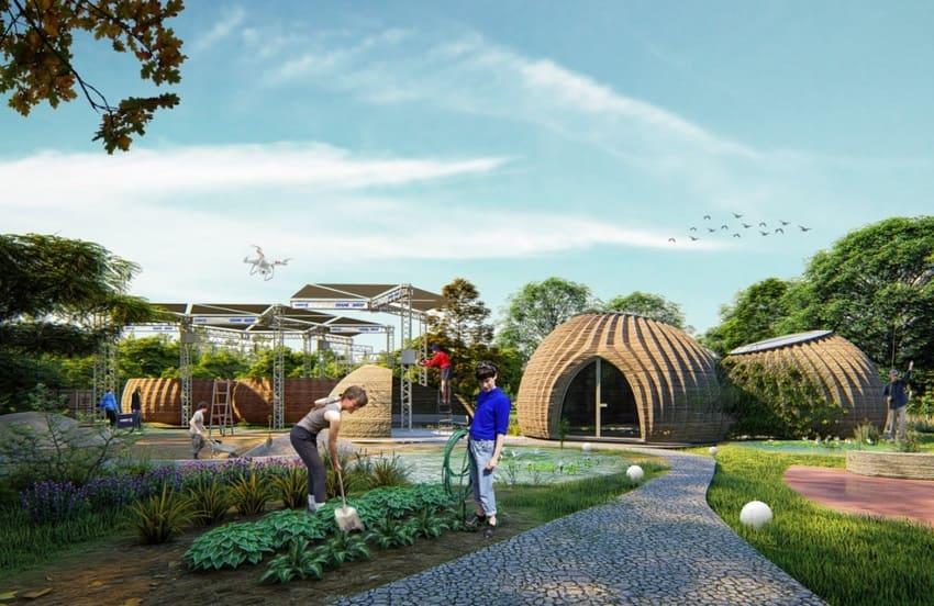 pueblo con casas impresas en 3D - Vivienda de arcilla impresa en 3D en construcción en Italia