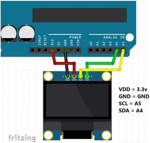 esquema programa OLED - Cómo programar pantallas oled con Arduino