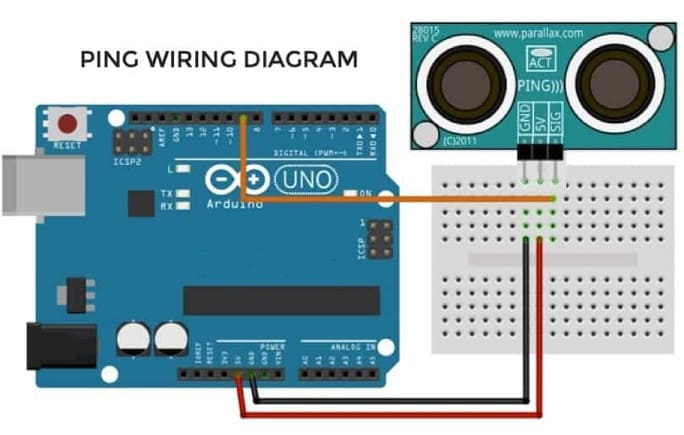ping wiring diagrama - 9 Sensores para Arduino que debes aprender a utilizar