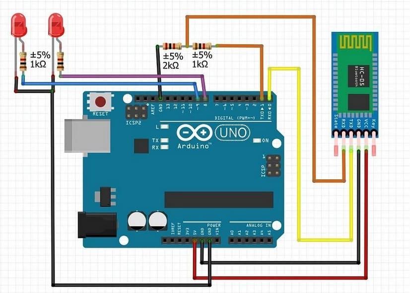 esquema de conexion leds arduino uno y bluetooth - Tutorial de Bluetooth Low Energy (BLE) para Arduino