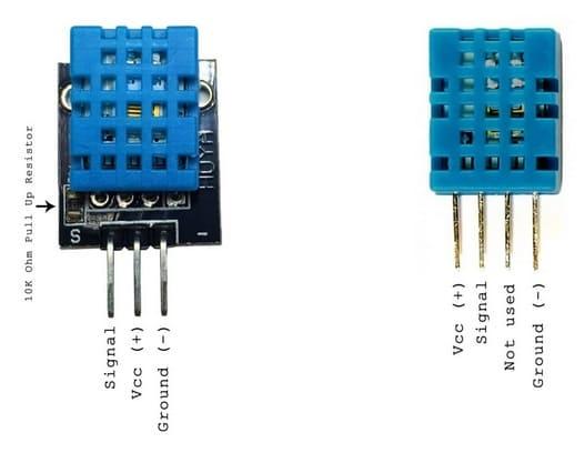 pinout DHT11 - DHT11, Cómo configurar este sensor de humedad en un Arduino