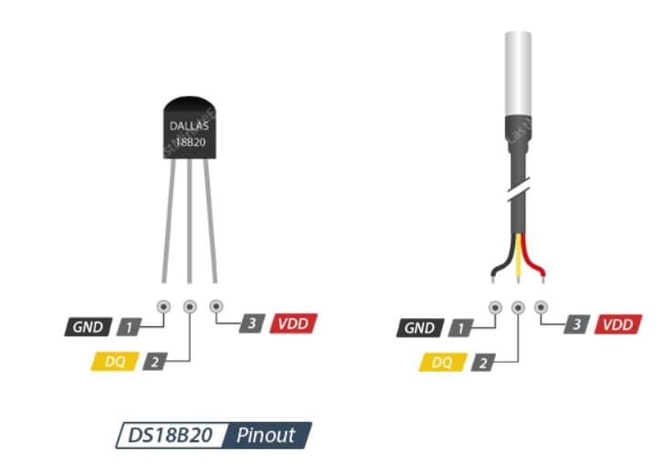 DS18B20 Sensor Pinout - Cómo medir las temperaturas con DS18B20 y Arduino