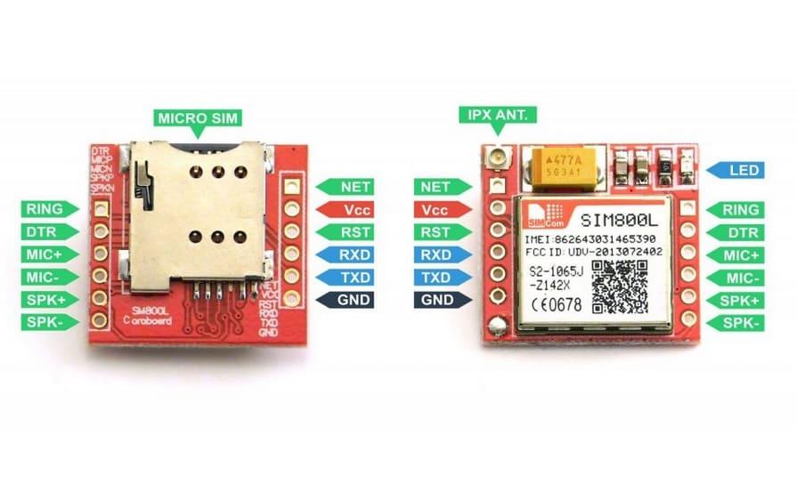 SIM800L GSM Pinout - Enviar Recibir SMS y llamar con el módulo SIM800L GSM y Arduino