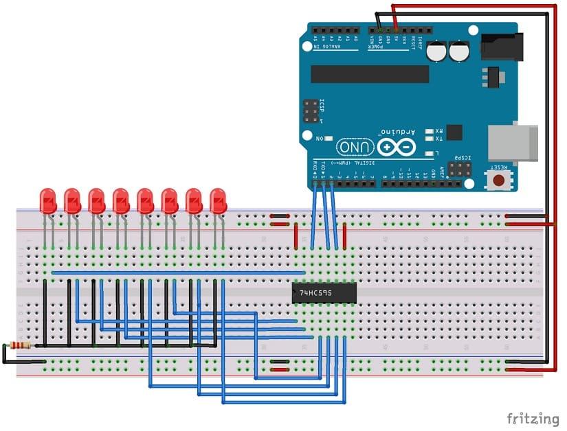 conexión 74HC595 a Arduino Uno - Cómo funciona el registro de turnos 74HC595 y su interfaz con Arduino