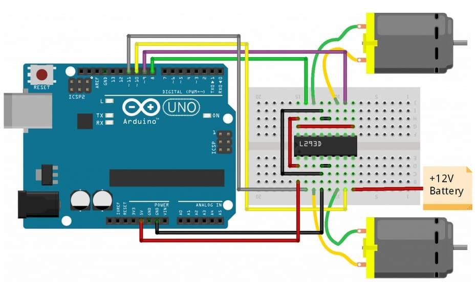 conexión a Arduino de L293D Motor Driver - Controla los motores de corriente continua con el motor L293D IC y Arduino