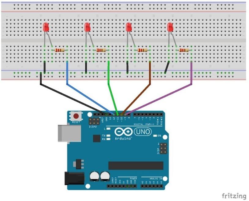 conexión de arduino Uno a 4 leds y resistencias - Cómo salvar los valores de Arduino con EEPROM