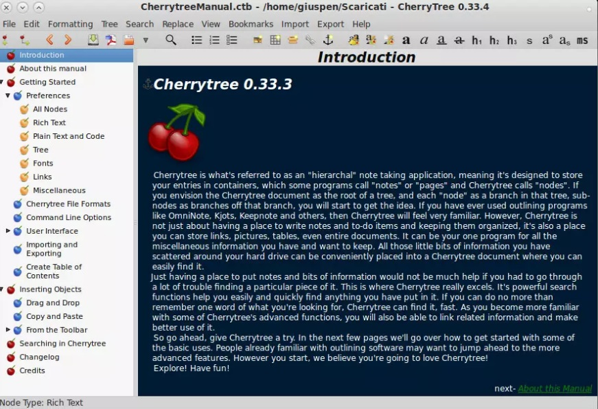 cherrytree - Las mejores aplicaciones de Raspbian para usar un Raspberry Pi como un PC de escritorio
