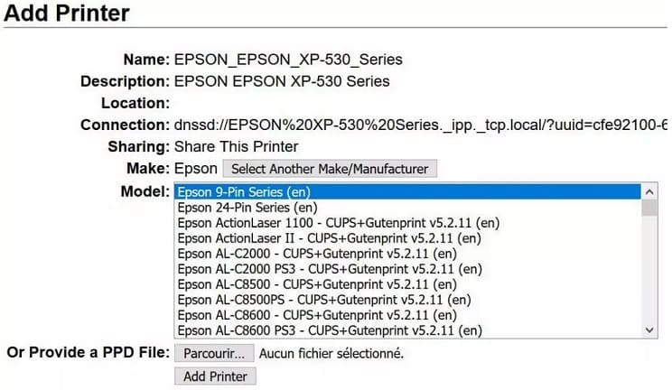 elegir modelo impresora - Cómo añadir una impresora a tu Raspberry Pi en Raspbian (CUPS)