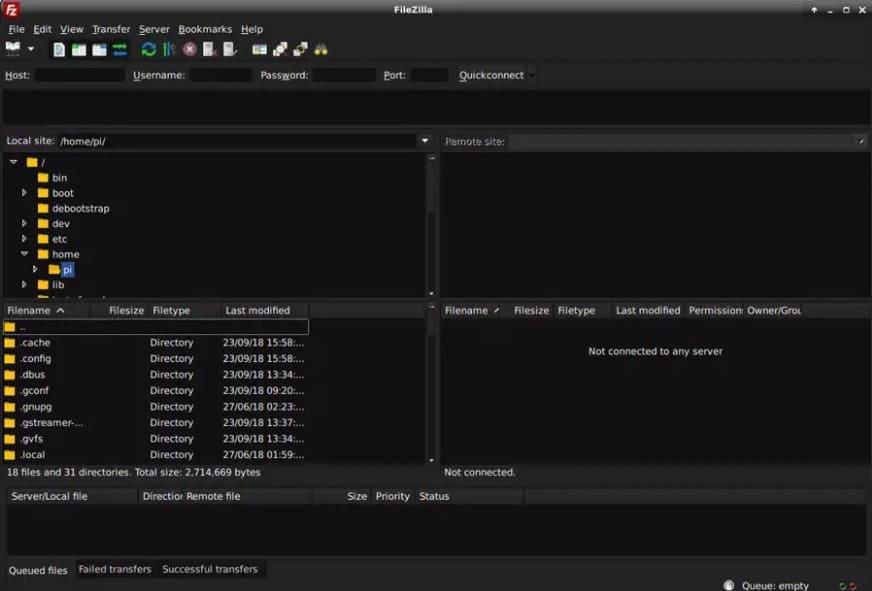 filezilla - Las mejores aplicaciones de Raspbian para usar un Raspberry Pi como un PC de escritorio