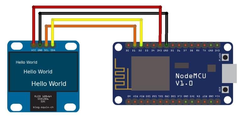 conexión pantalla Nodemcu - Cómo construir una Estación meteorológica con ESP8266 usando el IDE de Arduino