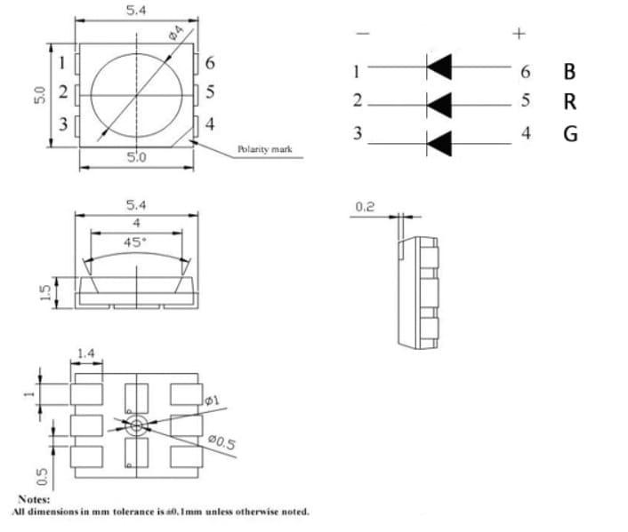 conexiones PIN del SMD 5050 RGB LED - Cómo construir un controlador de tiras LED RGB usando ESP8266