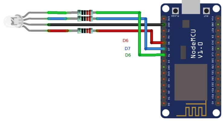 diagrama conexiones leds a Nodemcu - Cómo construir un controlador de tiras LED RGB usando ESP8266
