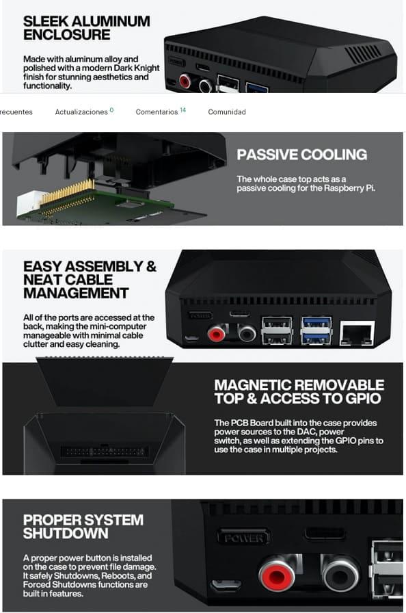 funcionas nanosound - NanoSound ONE Carcasa Hi-Fi DAC para Raspberry Pi