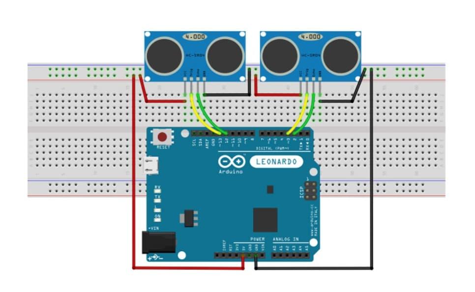 arduino leonardo con dos hc sr04 - Controla tu PC con el sensor ultrasónico HC-SR04 y Arduino