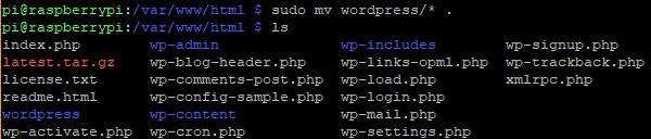 move the contents of the wordpress directory - Cómo alojar tu web de WordPress en Raspberry Pi