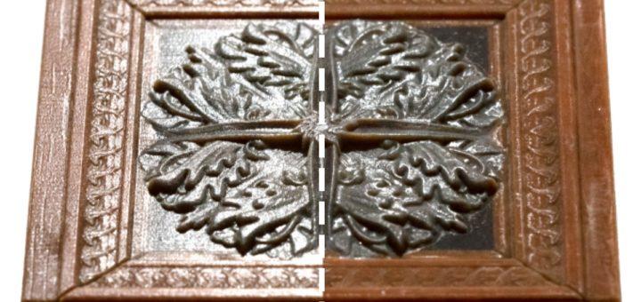 Una placa creada por una impresora 3D convencional (izquierda), en comparación con una impresa por el nuevo dispositivo