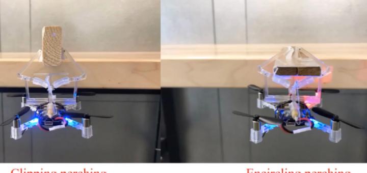 Una pinza mecánica permite que los drones cuelguen de los objetos
