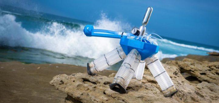 El nuevo robot propulsado por aire desarrollado en UC San Diego tiene un patrón de caminar inspirado en tortugas sideneck