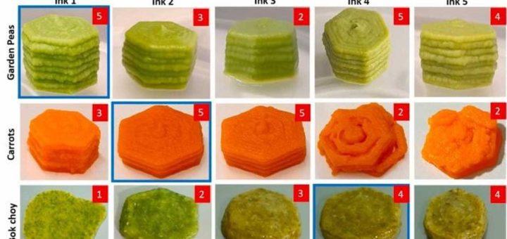 Los alimentos impresos en 3D conservan la nutrición y el sabor de las verduras frescas y congeladas