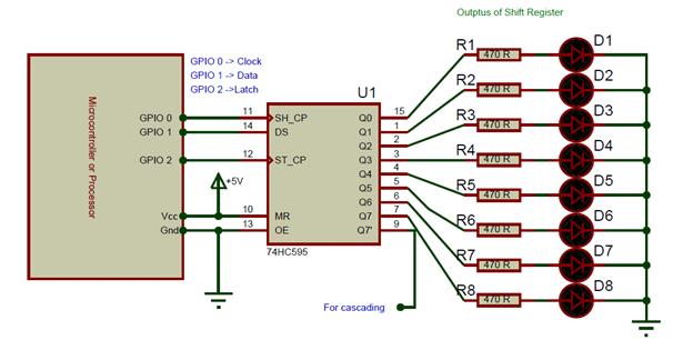 circuito de ejemplo 74hc595 - Cómo funciona el 74HC595 Shift Register y su interfaz con Arduino
