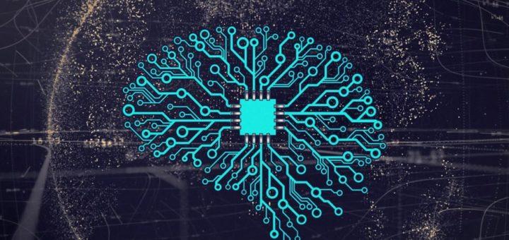 cerebro de placa de circuito impreso sobre un fondo del planeta tierra